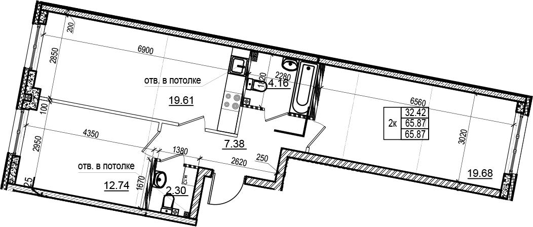 3Е-комнатная, 65.87 м²– 2