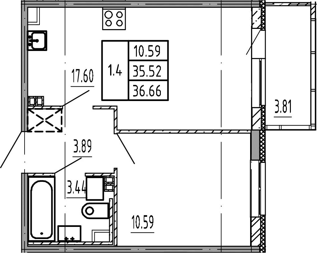 2Е-комнатная, 35.52 м²– 2