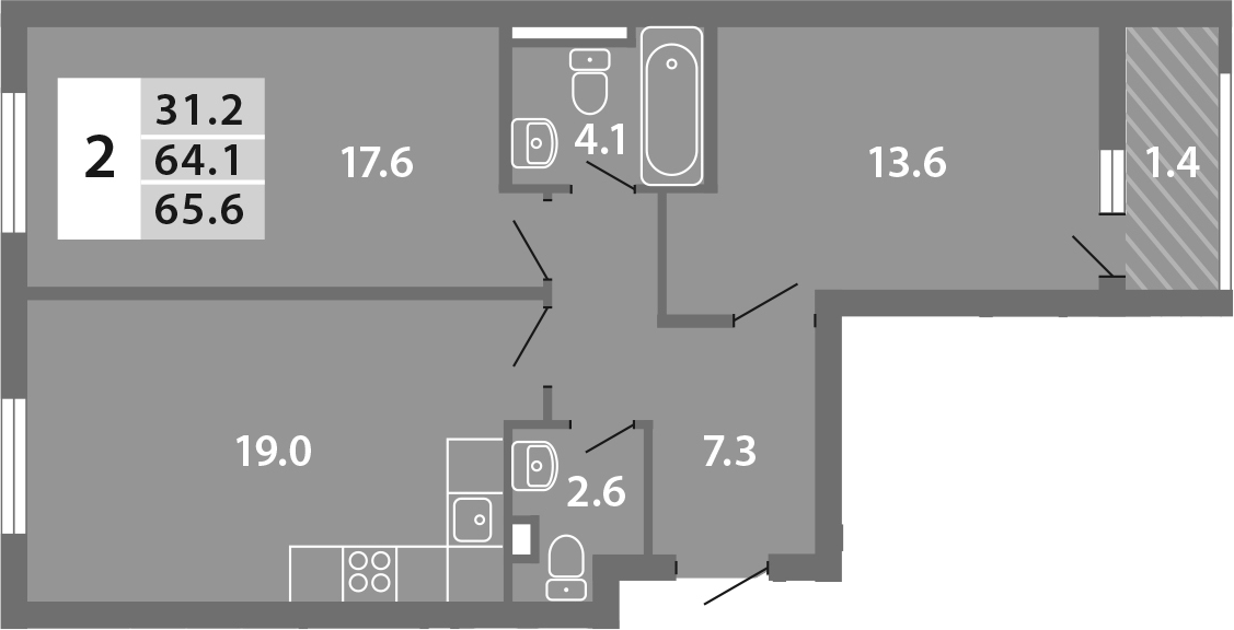 3Е-к.кв, 65.6 м²