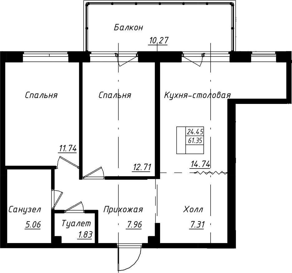 3-к.кв (евро), 71.62 м²