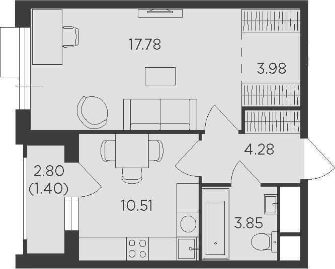 1-комнатная, 41.8 м²– 2