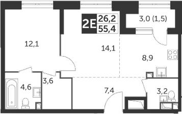 2Е-комнатная, 55.4 м²– 2
