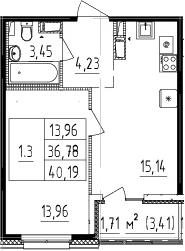 2Е-комнатная, 36.78 м²– 2