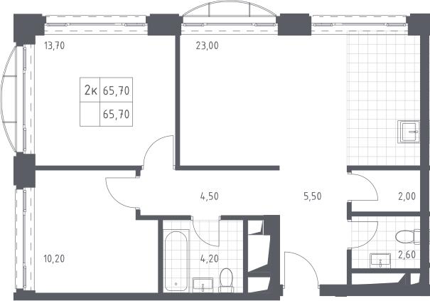 3Е-комнатная, 65.7 м²– 2