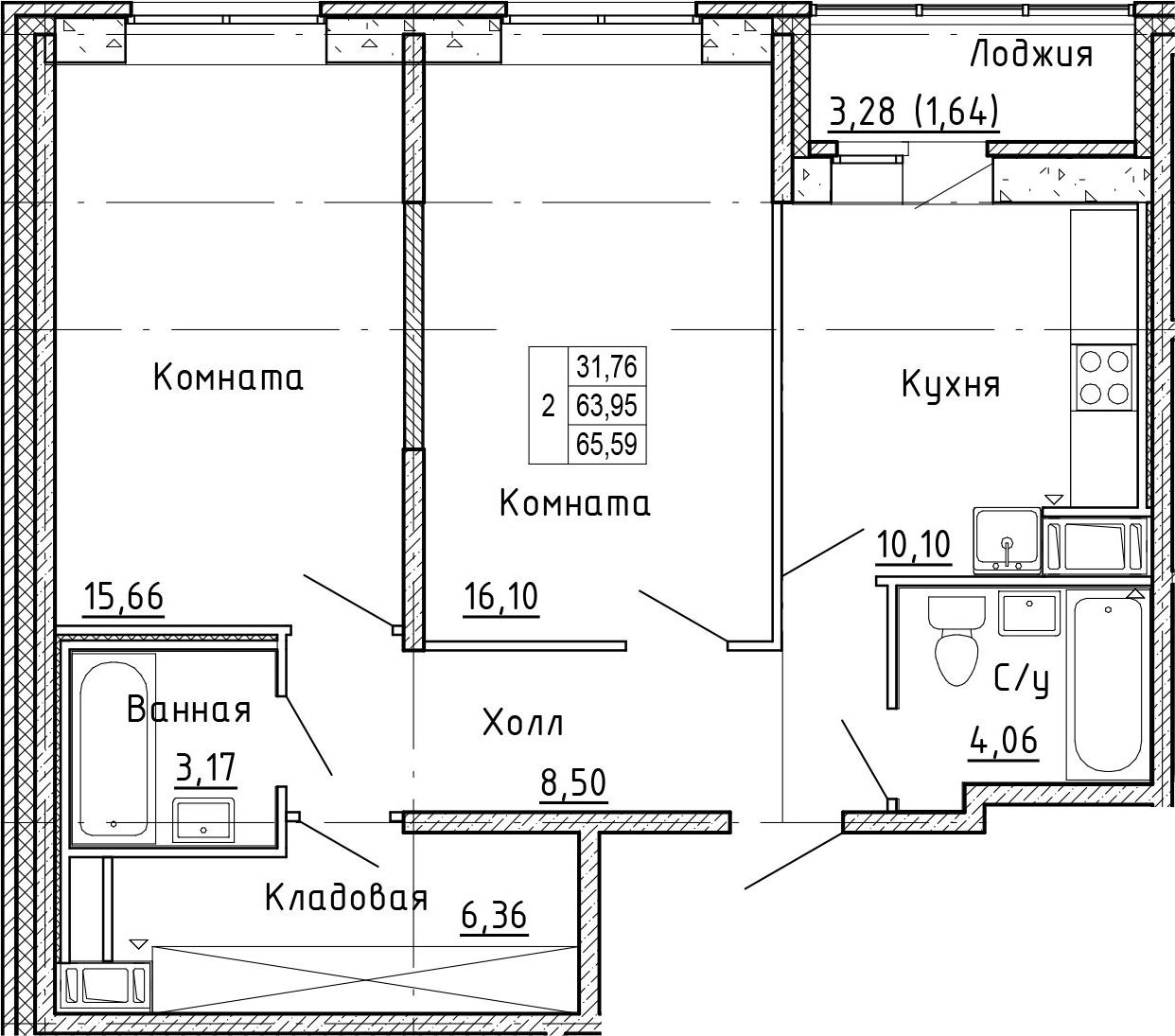 2-к.кв, 67.23 м²