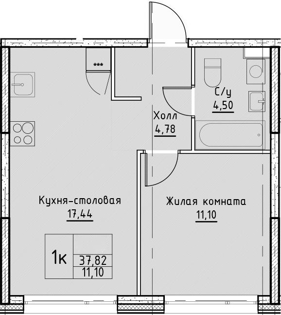 2Е-к.кв, 37.82 м², от 3 этажа