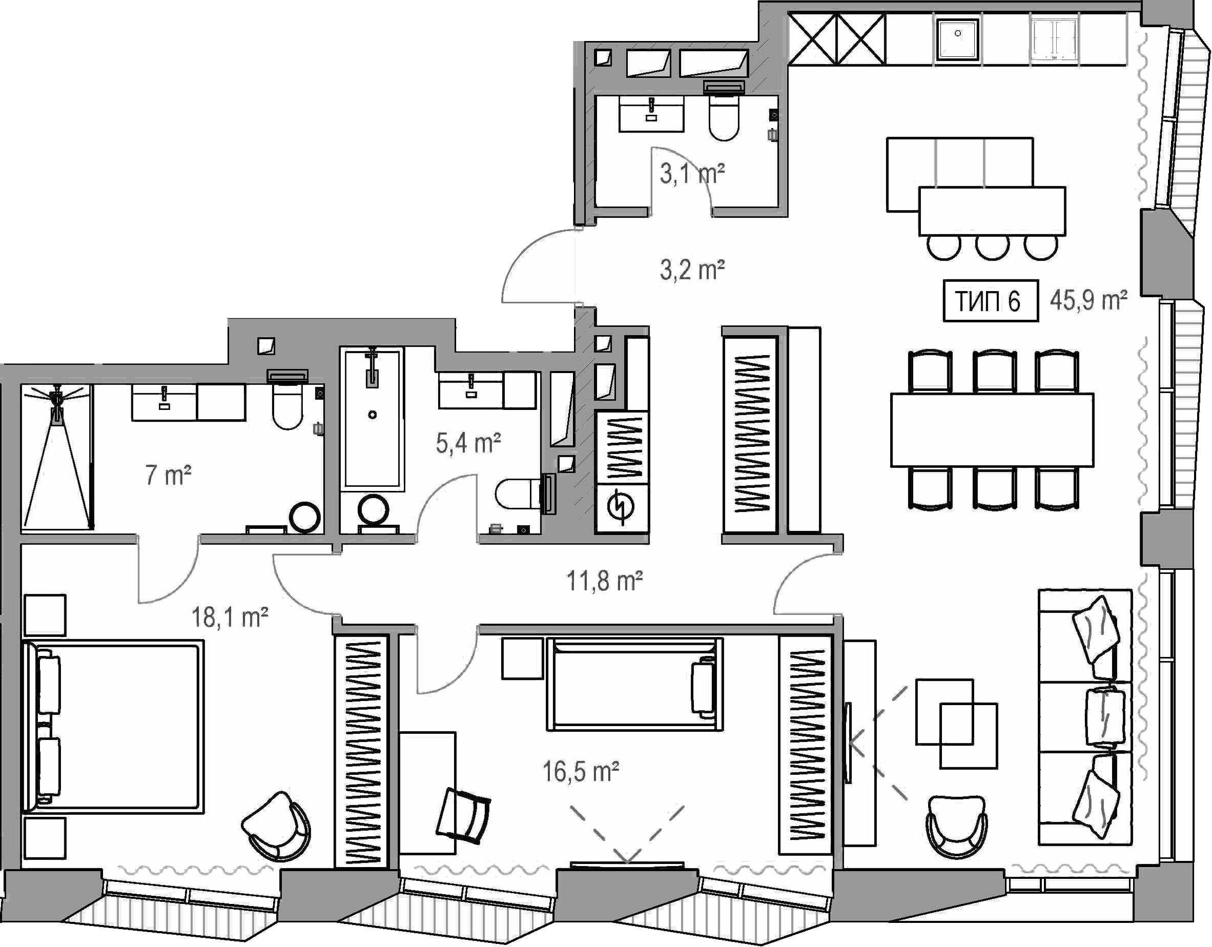 3Е-комнатная, 108.9 м²– 2