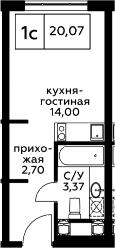 Студия, 20.07 м², 11 этаж