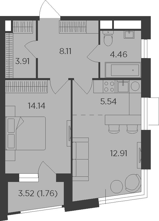 2Е-к.кв, 50.83 м²