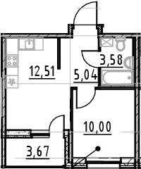 1-к.кв, 31.13 м², от 4 этажа