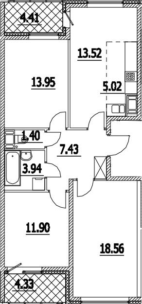 4-к.кв (евро), 84.46 м²