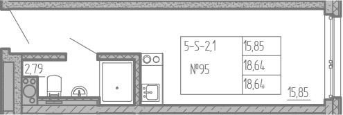 Студия, 18.64 м², от 13 этажа