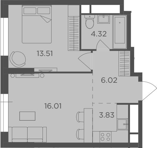 2Е-комнатная, 43.69 м²– 2