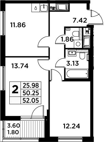 2-к.кв, 52.05 м²