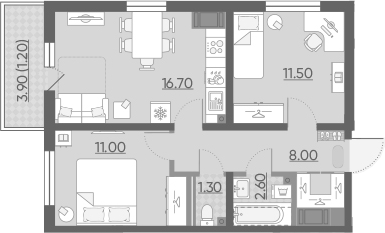 3Е-к.кв, 52.3 м²