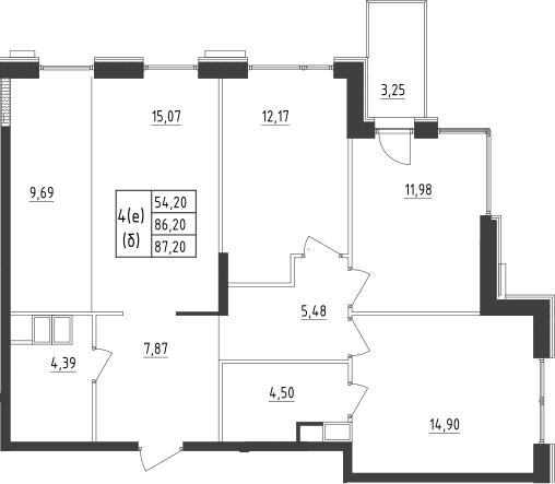 4-к.кв (евро), 90.97 м²