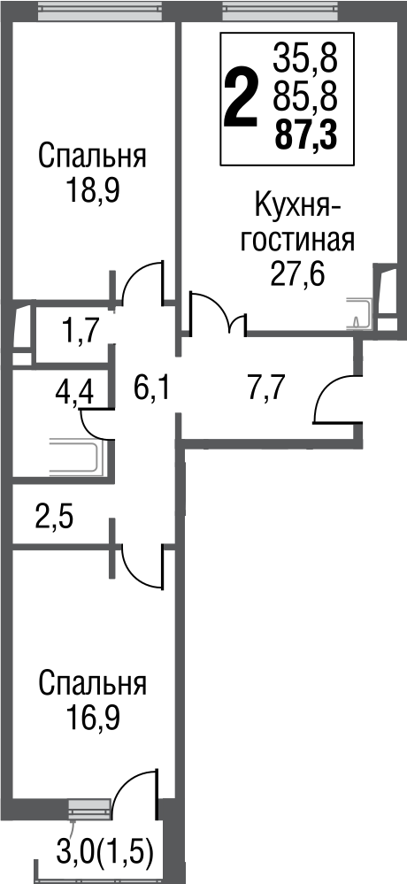 3Е-к.кв, 87.3 м²