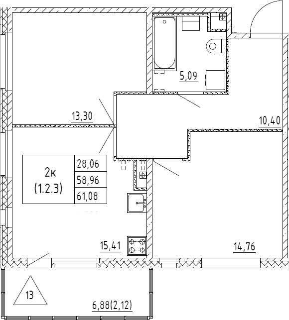 3Е-к.кв, 61.08 м², 2 этаж