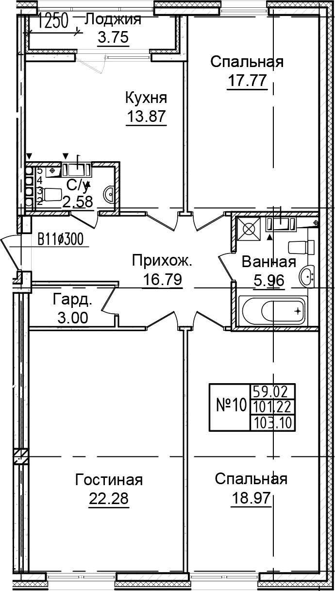 3-к.кв, 104.97 м²