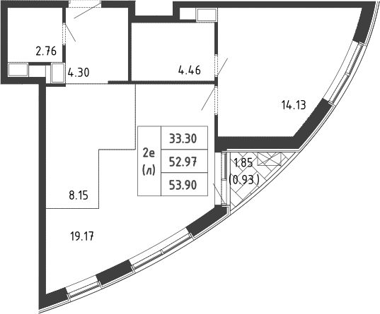 2Е-к.кв, 54 м², 3 этаж