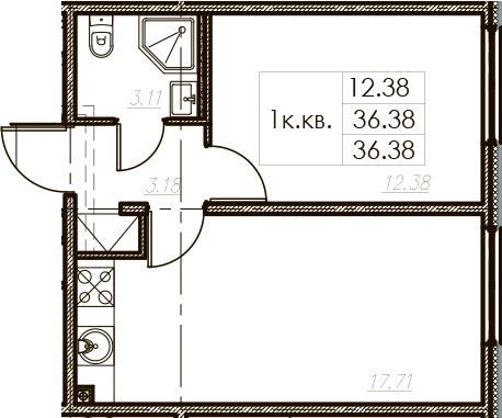 2Е-к.кв, 36.38 м²