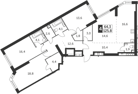 4-к.кв, 125.8 м², 33 этаж