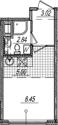 Студия, 19.31 м²– 2