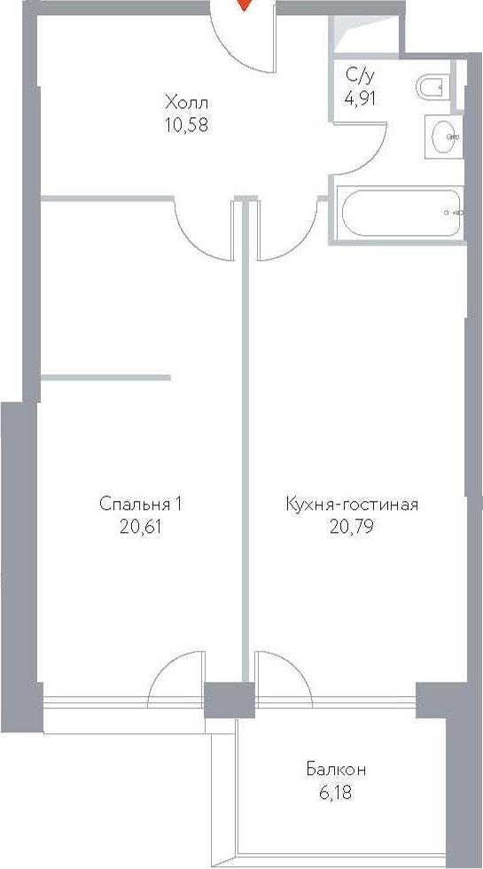 2Е-к.кв, 63.07 м², 13 этаж