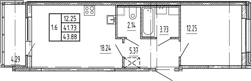 2Е-комнатная, 41.73 м²– 2