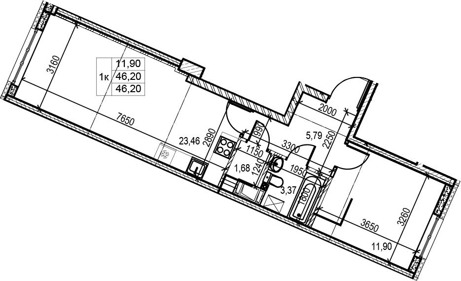 2Е-комнатная, 46.2 м²– 2