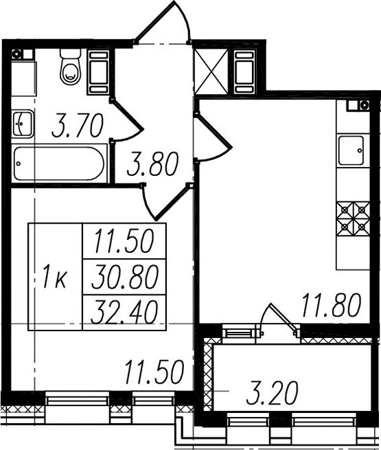 1-к.кв, 30.8 м², 5 этаж