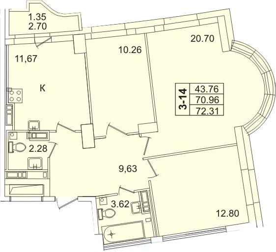 3-к.кв, 73.66 м²