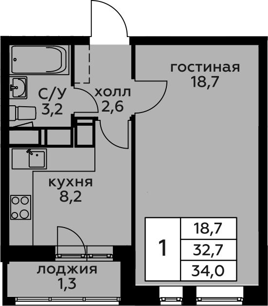 1-к.кв, 34 м², 9 этаж