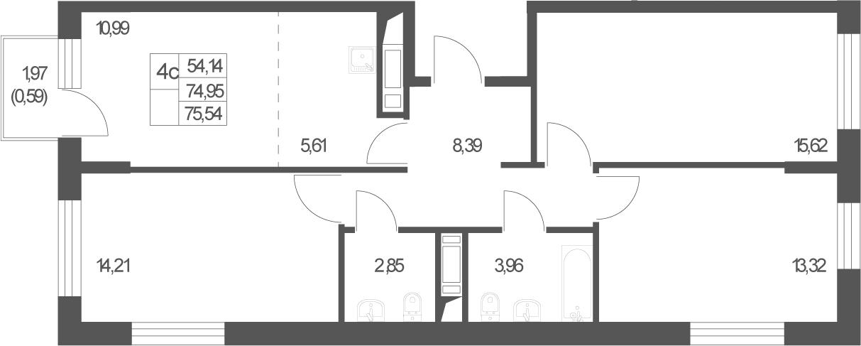 4Е-комнатная, 75.54 м²– 2