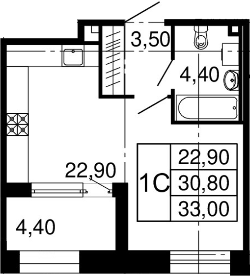 Студия, 30.8 м², 2 этаж