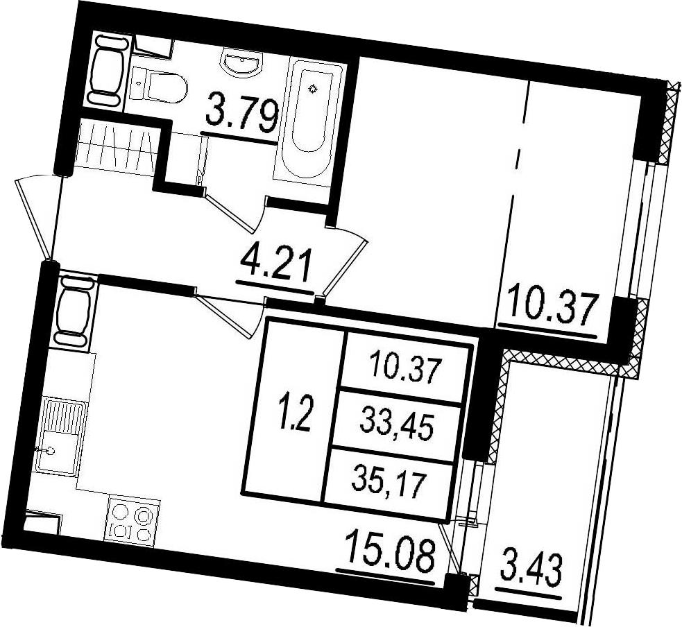 2Е-к.кв, 33.45 м², 4 этаж