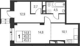 Студия, 45 м²