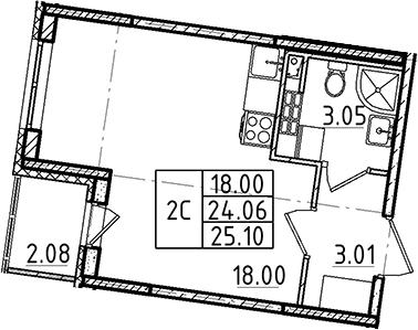 Студия, 24.06 м², 4 этаж