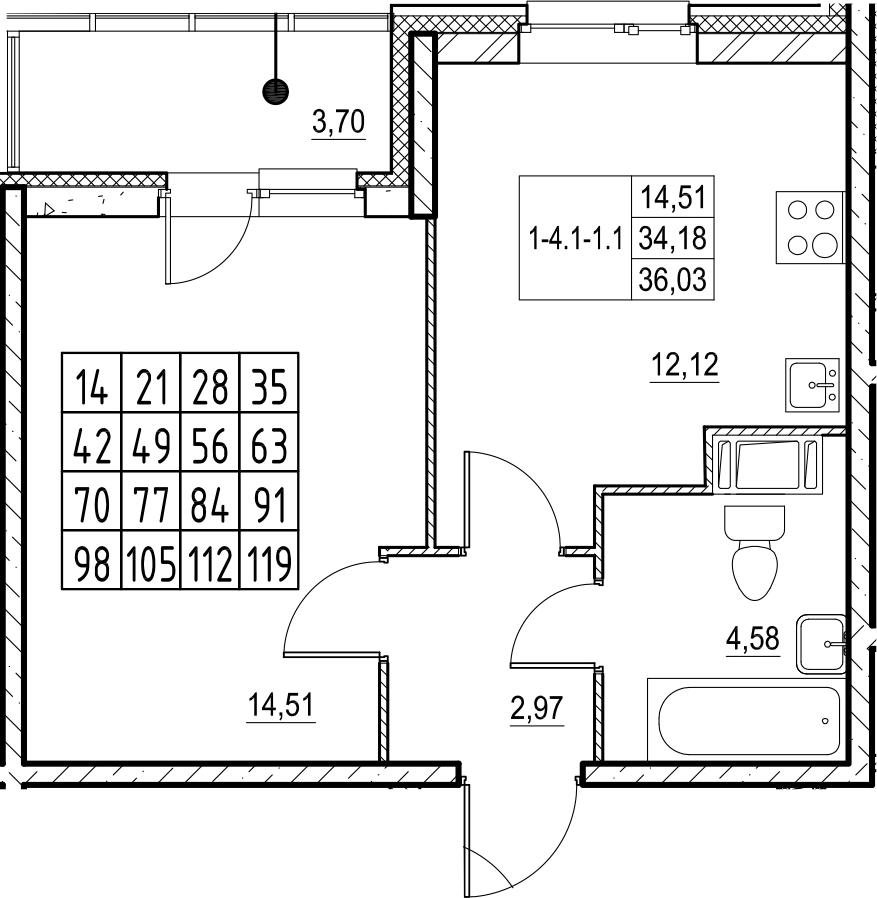 1-к.кв, 36.03 м², 17 этаж