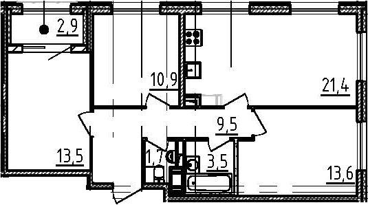 4-к.кв (евро), 77.1 м²