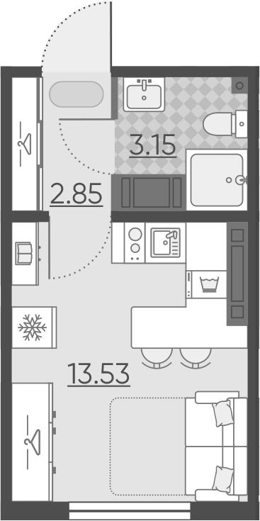 Студия, 19.53 м²– 2