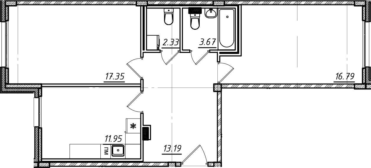 2-комнатная, 65.28 м²– 2