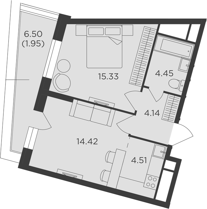 2Е-к.кв, 44.8 м²