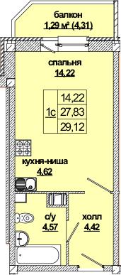 Студия, 32.23 м²