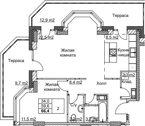 2Е-комнатная, 66.4 м²– 2