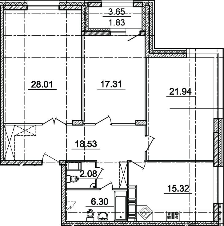 3-комнатная, 109.49 м²– 2