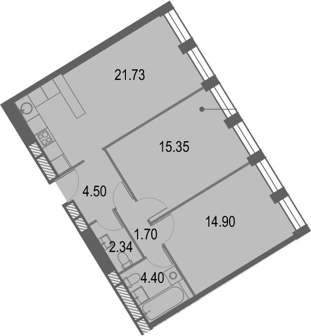 3Е-комнатная, 64.92 м²– 2