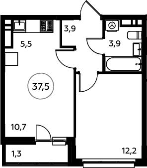 2Е-к.кв, 37.5 м², 15 этаж