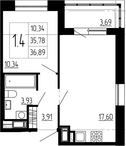 2-к.кв (евро), 39.47 м²