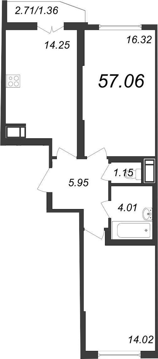 2-к.кв, 57.06 м²
